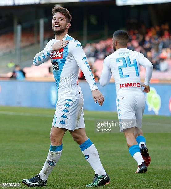 Dries Mertens celebrates after scoring during the Italian Serie A match between SSC Napoli and Torino at San Paolo Stadium in Naples Italy on...