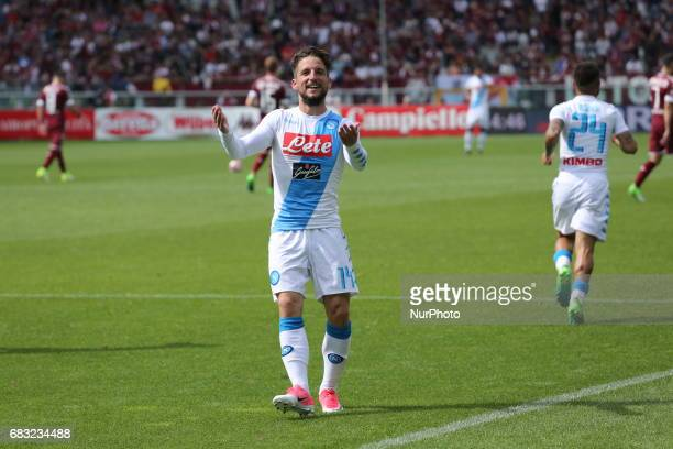 Dries Mertens celebrates after scoring during the Serie A football match between Torino FC and SSC Napoli at Olympic stadium Grande Torino on may 14...