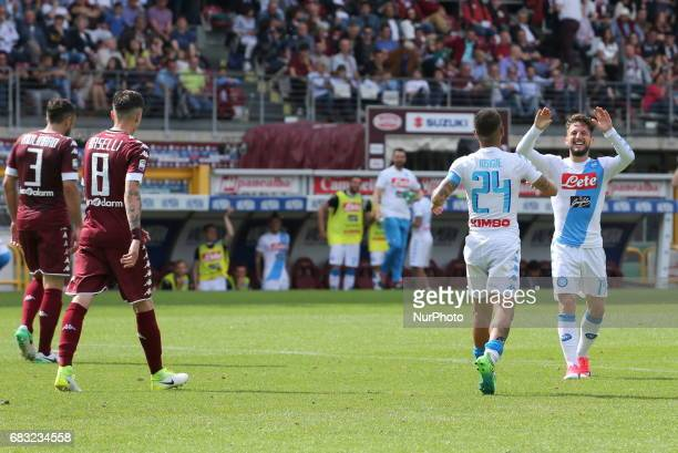 Dries Mertens celebrates after scoring with Lorenzo Insigne during the Serie A football match between Torino FC and SSC Napoli at Olympic stadium...