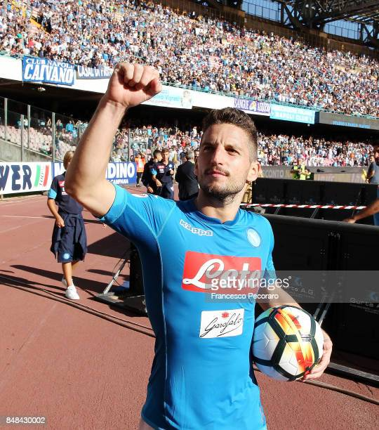 Dries Mertens celebrates the victory gaining the match ball because of his hattrick after the Serie A match between SSC Napoli and Benevento Calcio...