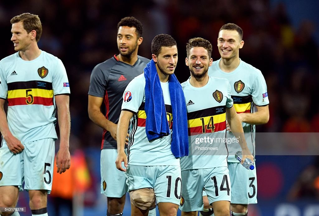 Dries Mertens forward of Belgium and Eden Hazard midfielder of Belgium celebrates with teammates after scoring during the UEFA EURO 2016 Round of 16 match between Hungary and Belgium at the Stadium Toulouse on June 26, 2016 in Toulouse, France ,