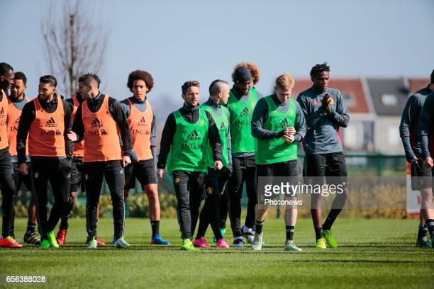 Dries Mertens forward of Belgium and Kevin De Bruyne forward of Belgium during a training session prior to the International Qualifying Match group H...