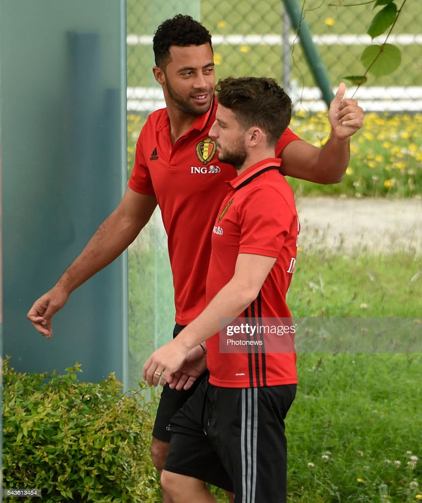 Dries Mertens forward of Belgium and Moussa Dembele midfielder of Belgium before a closed training session of the National Soccer Team of Belgium as part of the preparation prior to the UEFA EURO 2016 quarter final match between Wales and Belgium at the Chateau de Haillan training center on June 29, 2016 in Bordeaux, France ,