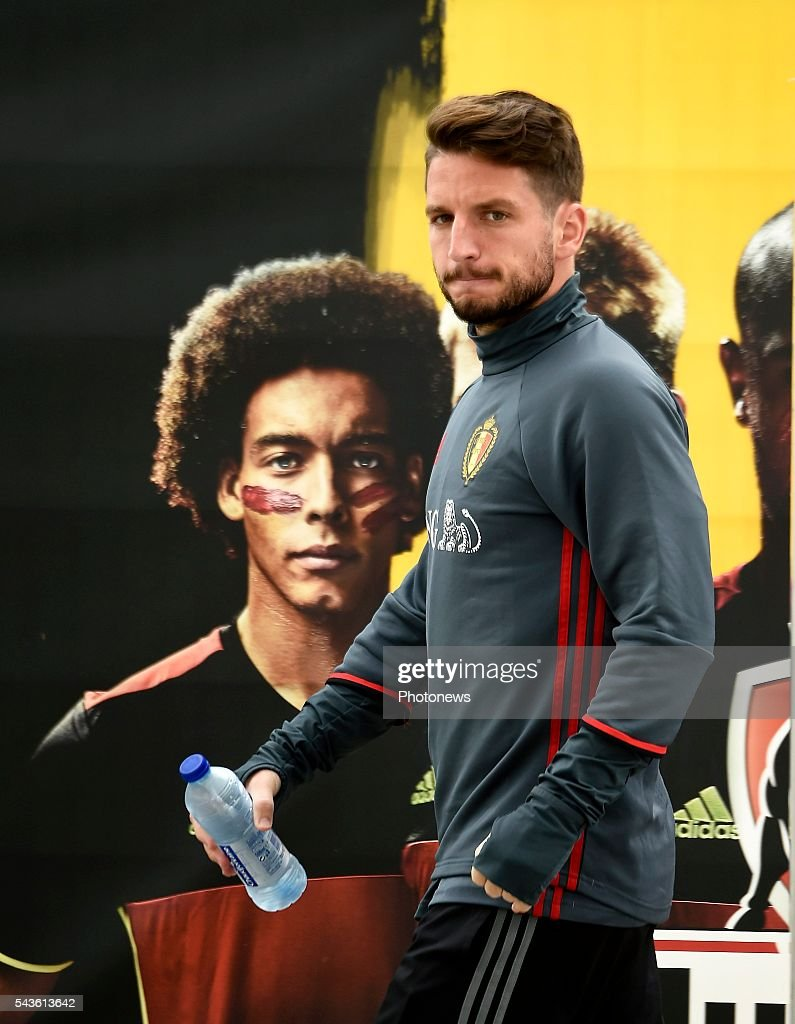 Dries Mertens forward of Belgium before a closed training session of the National Soccer Team of Belgium as part of the preparation prior to the UEFA EURO 2016 quarter final match between Wales and Belgium at the Chateau de Haillan training center on June 29, 2016 in Bordeaux, France ,