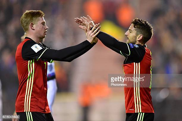 Dries Mertens forward of Belgium celebrates scoring a goal with teammate Kevin De Bruyne forward of Belgium during the World Cup Qualifier Group H...