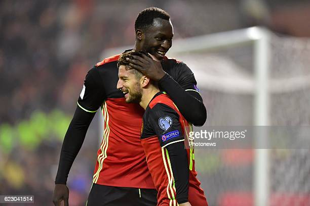 Dries Mertens forward of Belgium celebrates scoring a goal with teammate Romelu Lukaku forward of Belgium during the World Cup Qualifier Group H...