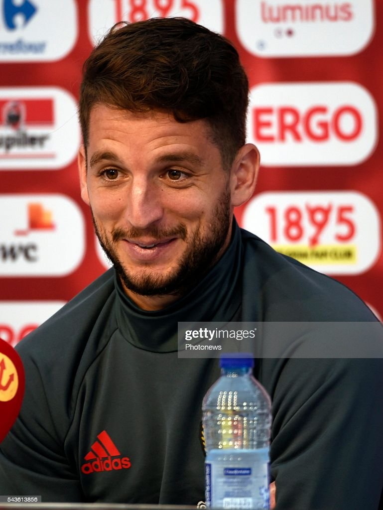 Dries Mertens forward of Belgium talks to the press during a press conference of the National Soccer Team of Belgium as part of the preparation prior to the UEFA EURO 2016 quarter final match between Wales and Belgium at the Chateau de Haillan training center on June 29, 2016 in Bordeaux, France ,