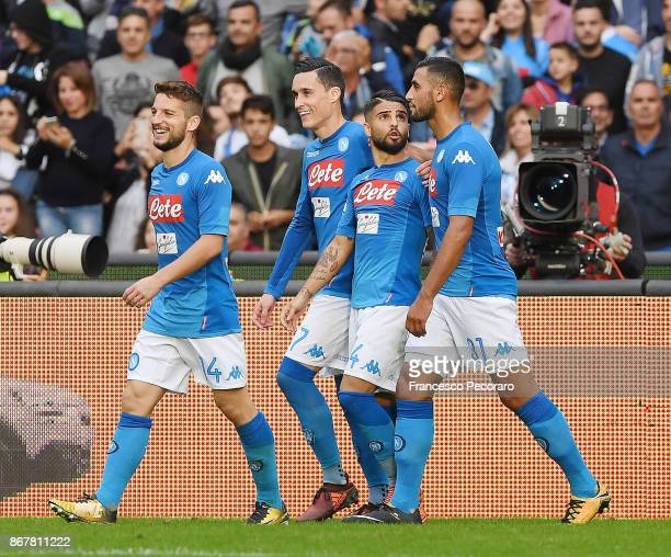 Dries Mertens Jose Calleon Lorenzo Insigne and Faouzi Ghoulam of SSC Napoli celebrate the 21 goal scored by Lorenzo Insigne during the Serie A match...