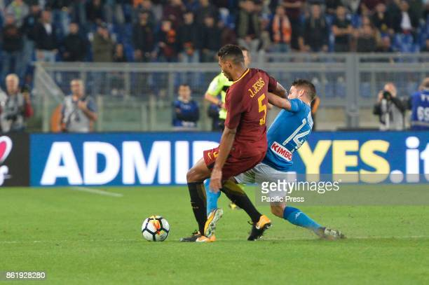 Dries Mertens Juan Jesus during the Italian Serie A football match between AS Roma and SSC Napoli at the Olympic Stadium in Rome on october 14 2017