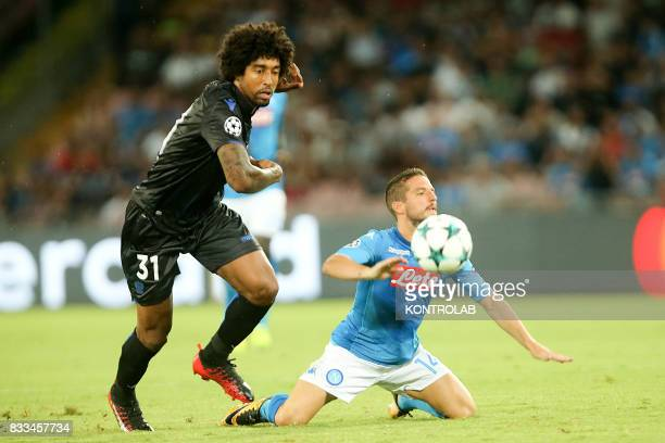 Dries Mertens Napoli striker and Dante Bonfim defender of Nice during the match between SSC Napoli and OGC Nice to qualify for the playoffs of the...