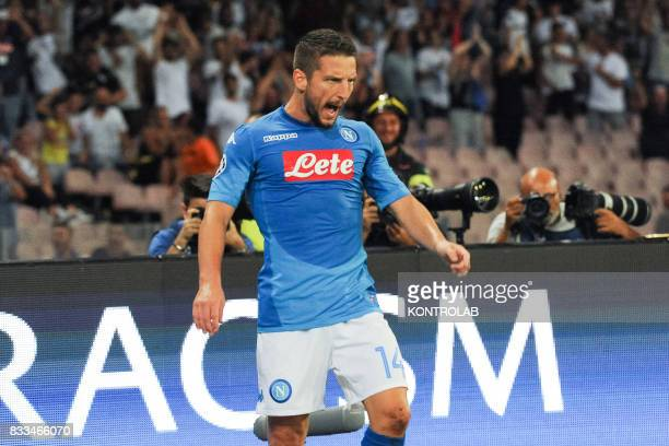 Dries Mertens Napoli striker celebrates scoring a goal during the match between SSC Napoli and OGC Nice to qualify for the playoffs of the UEFA...