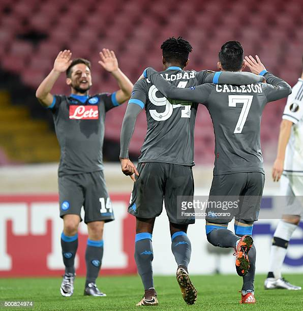 Dries Mertens Nathaniel Chalobah and Josè Maria callejon of Napoli celebrate a goal 30 scored by Josè Maria Callejon the UEFA Europa League Group D...
