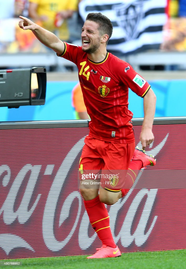<a gi-track='captionPersonalityLinkClicked' href=/galleries/search?phrase=Dries+Mertens&family=editorial&specificpeople=6524919 ng-click='$event.stopPropagation()'>Dries Mertens</a> of Belgium celebrates after scoring the team's second goal during the 2014 FIFA World Cup Brazil Group H match between Belgium and Algeria at Estadio Mineirao on June 17, 2014 in Belo Horizonte, Brazil.