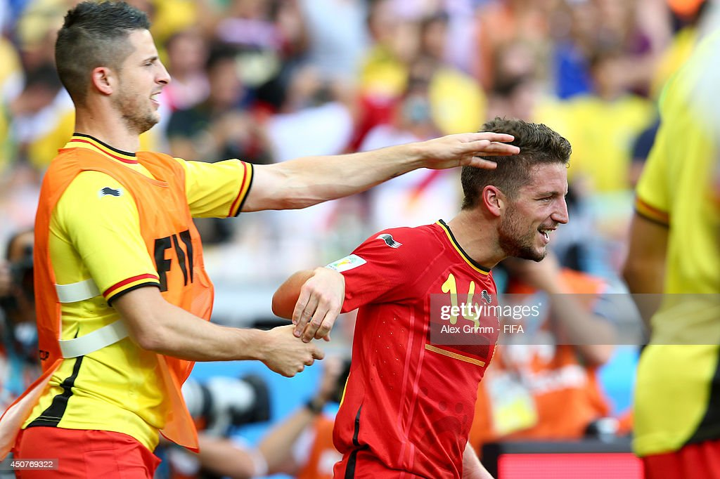 <a gi-track='captionPersonalityLinkClicked' href=/galleries/search?phrase=Dries+Mertens&family=editorial&specificpeople=6524919 ng-click='$event.stopPropagation()'>Dries Mertens</a> of Belgium (R) celebrates after scoring the team's second goal during the 2014 FIFA World Cup Brazil Group H match between Belgium and Algeria at Estadio Mineirao on June 17, 2014 in Belo Horizonte, Brazil.