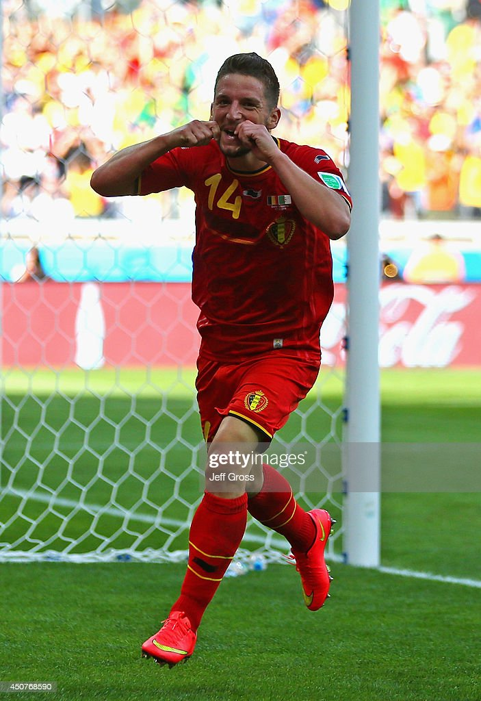 <a gi-track='captionPersonalityLinkClicked' href=/galleries/search?phrase=Dries+Mertens&family=editorial&specificpeople=6524919 ng-click='$event.stopPropagation()'>Dries Mertens</a> of Belgium celebrates scoring his team's second goal during the 2014 FIFA World Cup Brazil Group H match between Belgium and Algeria at Estadio Mineirao on June 17, 2014 in Belo Horizonte, Brazil.