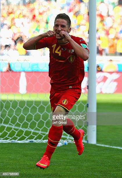 Dries Mertens of Belgium celebrates scoring his team's second goal during the 2014 FIFA World Cup Brazil Group H match between Belgium and Algeria at...