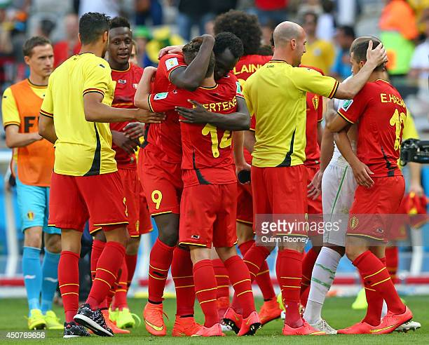 Dries Mertens of Belgium celebrates with teammate Romelu Lukaku after defeating Algeria 21 during the 2014 FIFA World Cup Brazil Group H match...