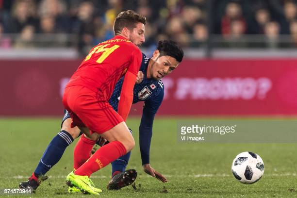 Dries Mertens of Belgium Hotaru Yamaguchi of Japan during the friendly match between Belgium and Japan on November 14 2017 at the Jan Breydel stadium...