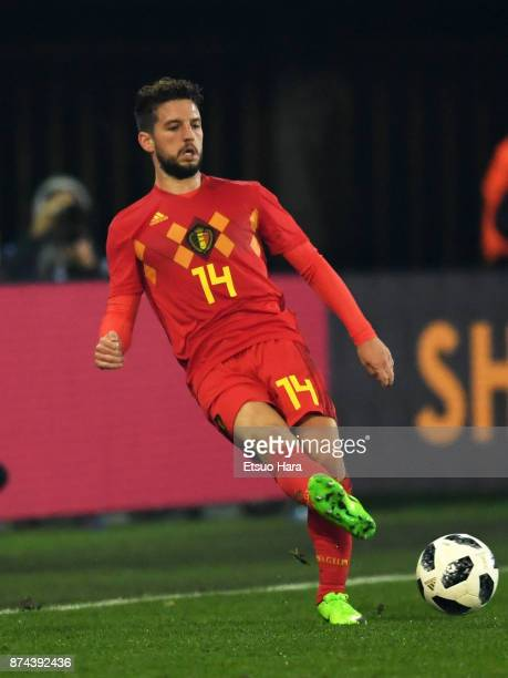 Dries Mertens of Belgium in action during the international friendly match between Belgium and Japan at Jan Breydel Stadium on November 14 2017 in...