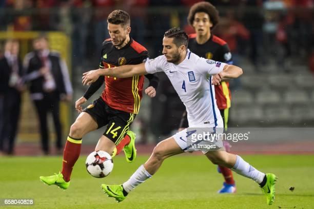 Dries Mertens of Belgium Konstantinos Manolas of Greeceduring the FIFA World Cup 2018 qualifying match between Belgium and Bosnie Herzegowina on...