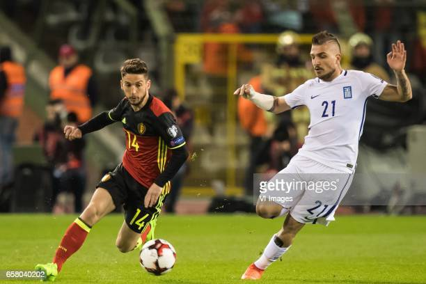 Dries Mertens of Belgium Konstantinos Stafylidis of Greeceduring the FIFA World Cup 2018 qualifying match between Belgium and Bosnie Herzegowina on...