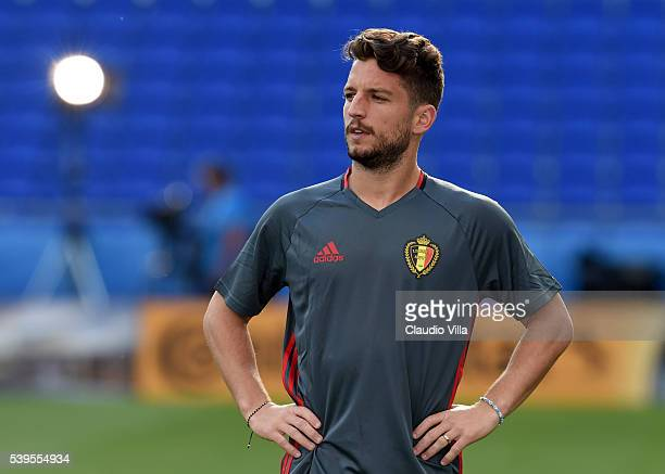 Dries Mertens of Belgium looks on during a training session ahead of their UEFA Euro 2016 Group E match between Belgium and Italy on June 12 2016 in...