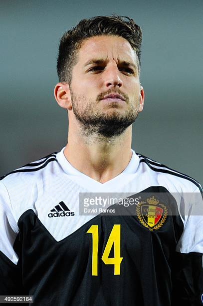 Dries Mertens of Belgium looks on during the UEFA EURO 2016 Qualifier match between Andorra and Belgium at Estadi Nacional d'Andorra la Vella on...