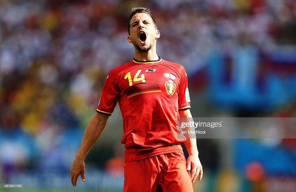 <a gi-track='captionPersonalityLinkClicked' href=/galleries/search?phrase=Dries+Mertens&family=editorial&specificpeople=6524919 ng-click='$event.stopPropagation()'>Dries Mertens</a> of Belgium reacts during the Group H match of the 2014 World Cup between Belgium and Russia at The Maracana Stadium on June 22, 2014 in Rio de Janeiro, Brazil.