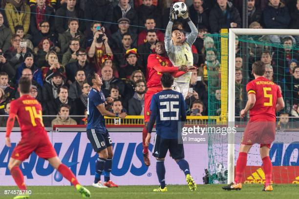Dries Mertens of Belgium Tomoaki Makino of Japan Christian Kabasele of Belgium goalkeeper Eiji Kawashima of Japan Kazuki Nagasawa of Japan Jan...