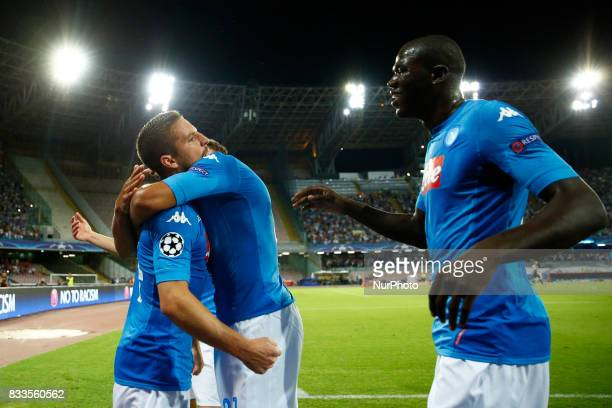 Dries Mertens of Napoli and Kalidou Koulibaly of Napoli celebrating at San Paolo Stadium in Naples Italy on August 16 2017 during the UEFA Champions...