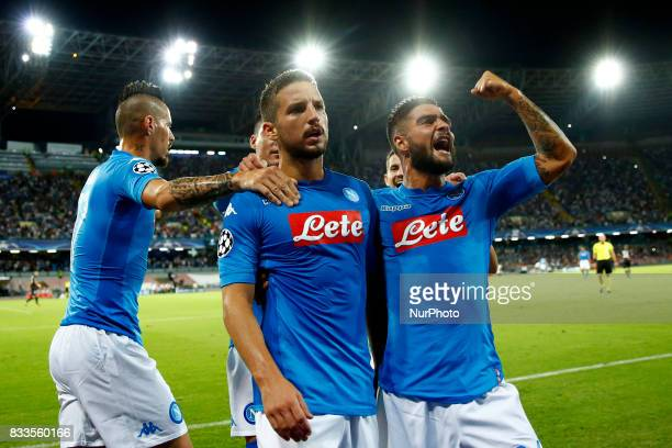 Dries Mertens of Napoli and Lorenzo Insigne of Napoli celebrating at San Paolo Stadium in Naples Italy on August 16 2017 during the UEFA Champions...