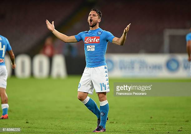 Dries Mertens of Napoli celebrates after scoring goal 10 during the Serie A match between SSC Napoli and Empoli FC at Stadio San Paolo on October 26...