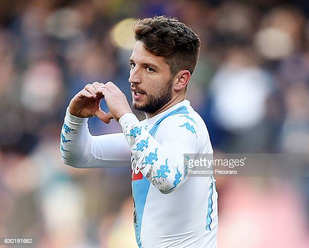 Dries Mertens of Napoli celebrates after scoring goal 10 during the Serie A match between SSC Napoli and FC Torino at Stadio San Paolo on December 18...