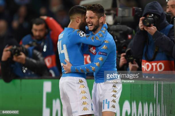 Dries Mertens of Napoli celebrates after scoring goal 10 during the UEFA Champions League Round of 16 second leg match between SSC Napoli and Real...
