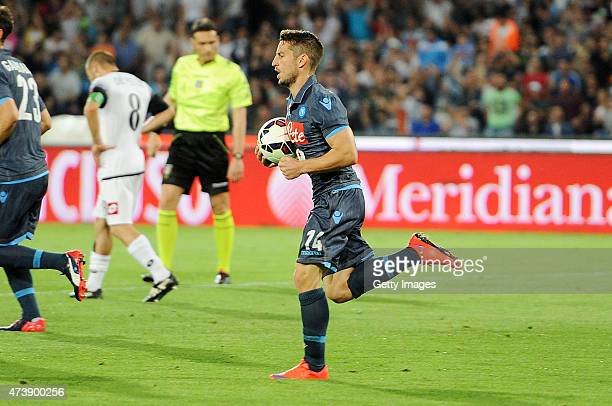 Dries Mertens of Napoli celebrates after scoring goal 11 during the Serie A match between SSC Napoli AC Cesena at Stadio San Paolo on May 18 2015 in...