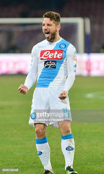 Dries Mertens of Napoli celebrates after scoring goal 11 during the Serie A match between SSC Napoli and US Citta di Palermo at Stadio San Paolo on...