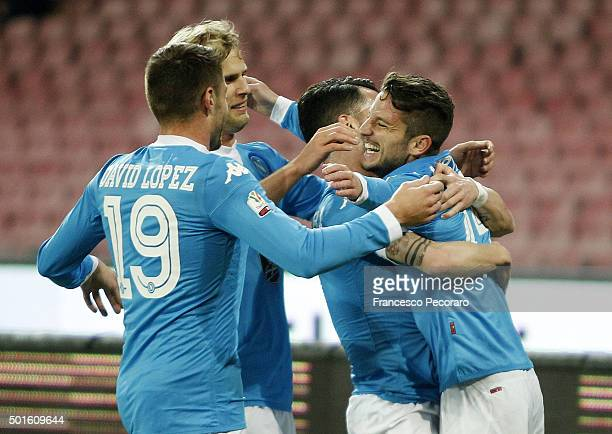 Dries Mertens of Napoli celebrates after scoring goal 20 during the TIM Cup match between SSC Napoli and Hellas Verona FC at Stadio San Paolo on...