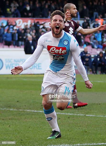 Dries Mertens of Napoli celebrates after scoring goal 30 during the Serie A match between SSC Napoli and FC Torino at Stadio San Paolo on December 18...