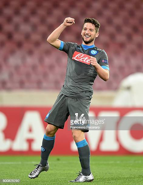 Dries Mertens of Napoli celebrates after scoring goal 41 during the UEFA Europa League Group D match between SSC Napoli and Legia Warszawa on...