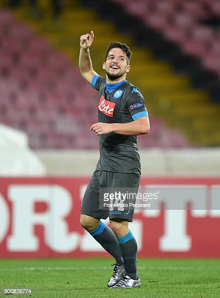 Dries Mertens of Napoli celebrates after scoring goal 51 during the UEFA Europa League Group D match between SSC Napoli and Legia Warszawa on...