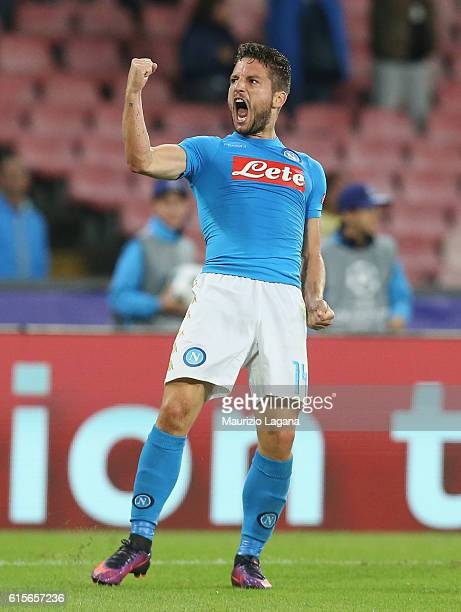 Dries Mertens of Napoli celebrates after scoring his team's equalizing goal during the UEFA Champions League match between SSC Napoli and Besiktas JK...