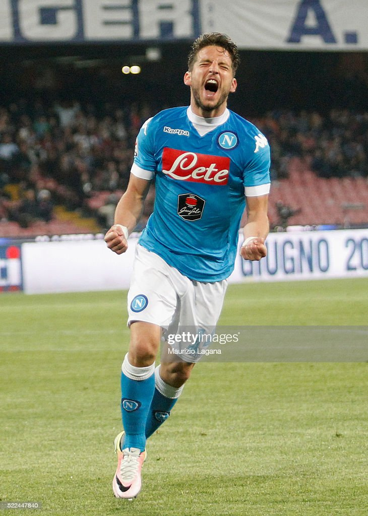 <a gi-track='captionPersonalityLinkClicked' href=/galleries/search?phrase=Dries+Mertens&family=editorial&specificpeople=6524919 ng-click='$event.stopPropagation()'>Dries Mertens</a> of Napoli celebrates after scoring his team's third goal during the Serie A match between SSC Napoli and Bologna FC at Stadio San Paolo on April 19, 2016 in Naples, Italy.