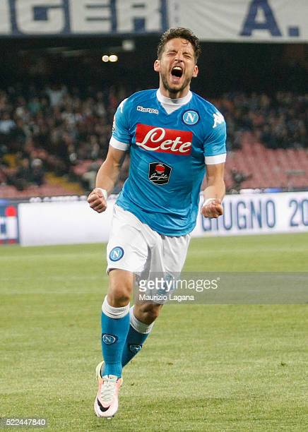 Dries Mertens of Napoli celebrates after scoring his team's third goal during the Serie A match between SSC Napoli and Bologna FC at Stadio San Paolo...