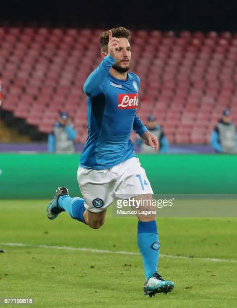 Dries Mertens of Napoli celebrates after scoring his team's third goal during the UEFA Champions League group F match between SSC Napoli and Shakhtar...