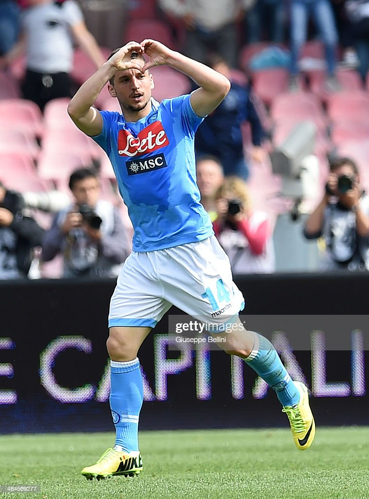<a gi-track='captionPersonalityLinkClicked' href=/galleries/search?phrase=Dries+Mertens&family=editorial&specificpeople=6524919 ng-click='$event.stopPropagation()'>Dries Mertens</a> of Napoli celebrates after scoring the goal 1-1 during the Serie A match between SSC Napoli and SS Lazio at Stadio San Paolo on April 13, 2014 in Naples, Italy.