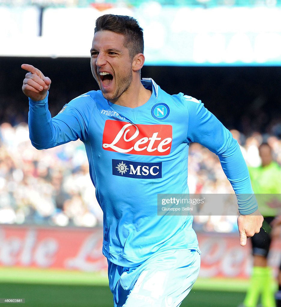 <a gi-track='captionPersonalityLinkClicked' href=/galleries/search?phrase=Dries+Mertens&family=editorial&specificpeople=6524919 ng-click='$event.stopPropagation()'>Dries Mertens</a> of Napoli celebrates after scoring the opening goal during the Serie A match between SSC Napoli and UC Sampdoria at Stadio San Paolo on January 6, 2014 in Naples, Italy.