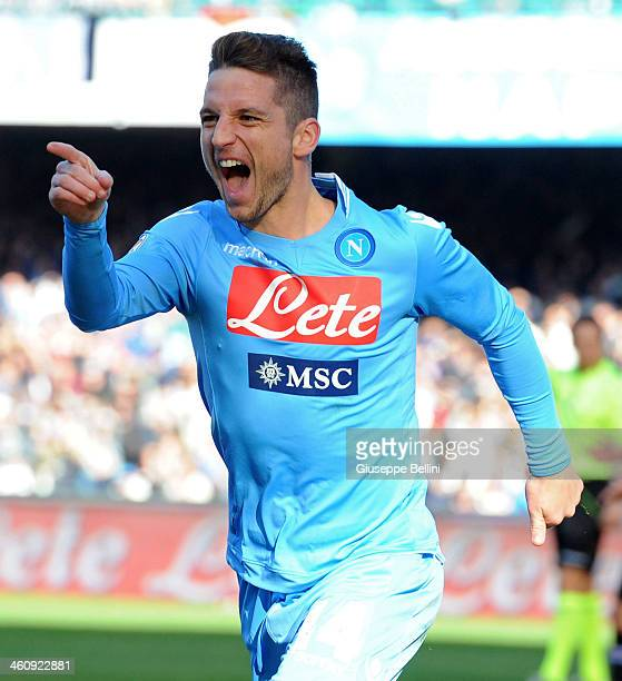 Dries Mertens of Napoli celebrates after scoring the opening goal during the Serie A match between SSC Napoli and UC Sampdoria at Stadio San Paolo on...