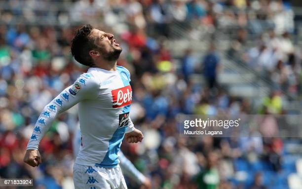 Dries Mertens of Napoli celebrates his team's opening goal goal during the Serie A match between US Sassuolo and SSC Napoli at Mapei Stadium Citta'...