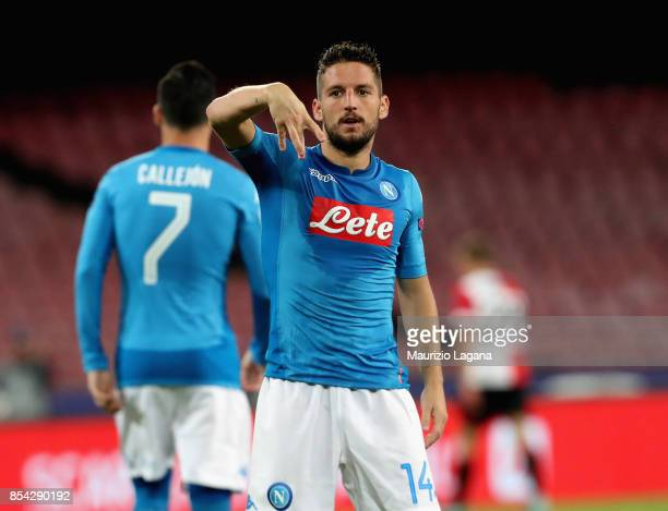 Dries Mertens of Napoli celebrates his team's second goal during the UEFA Champions League group F match between SSC Napoli and Feyenoord at Stadio...