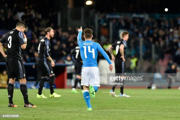 Dries Mertens of Napoli celebrates scoring his first goal during the UEFA Champions League Round of 16 game 2 match between Napoli and Real Madrid at...